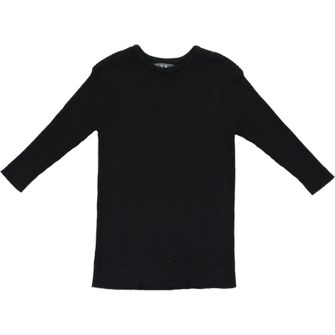 Belati Black Girls Basic Solid Ribbed Knit Top