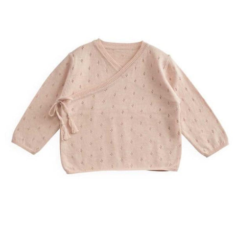Belle Enfant Sugar Pink Cotton Pointelle Wrap Top & Legging Set