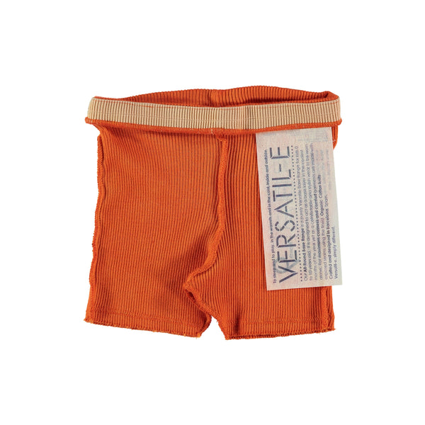 Versatile Naranja Orange Ribbed Shorts