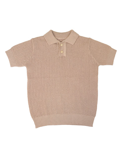 Belati Nude Textured Knit Polo