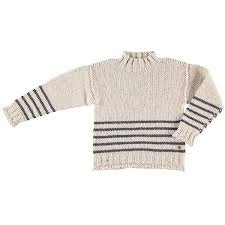 Tocoto Vintage Beige Funnel Neck Striped Sweater
