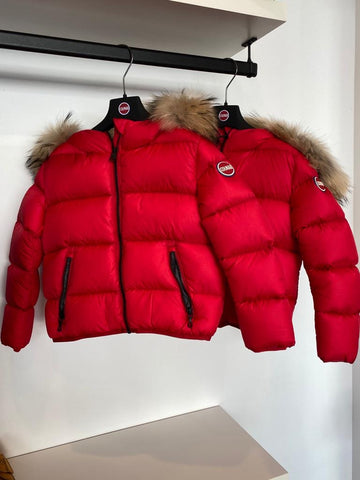 Colmar Red Hooded Winter Jacket  With Fur