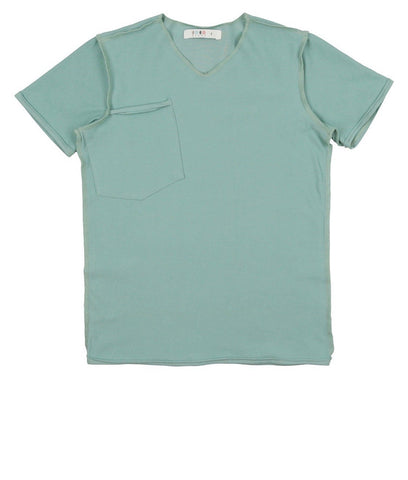 Coco Blanc Sage Green French Terry  V neck Tee
