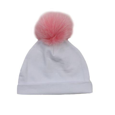 Bari Lynn White Cotton Baby Hat with Pink Fur Pom-pom