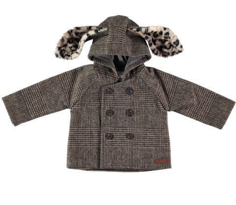 Tocoto Vintage Checkered Hooded Baby Coat