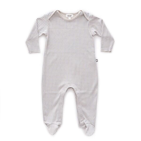 Oeuf Light Grey Base With Blue Checks Footed Jumper