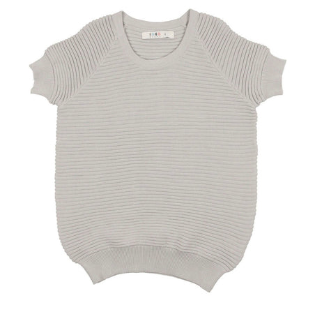 Coco Blanc Pale Blue Horizontal Ribbed Sweater