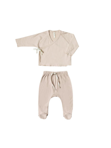 Quincy Mae Rose Kimono Top + Footed Pant Set