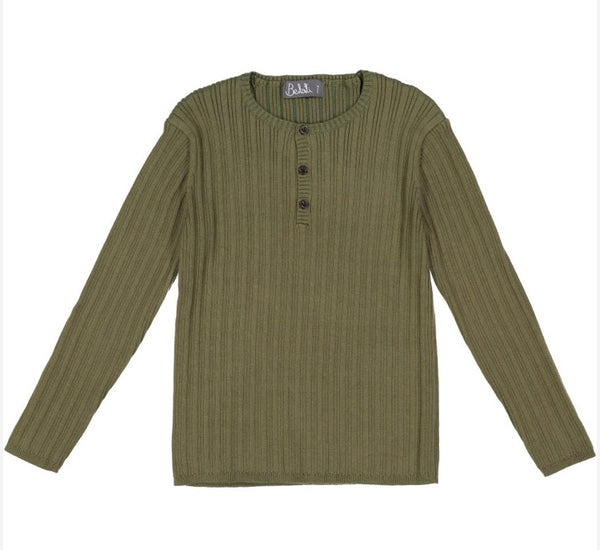 Belati Olive Ribbed Henley Sweater