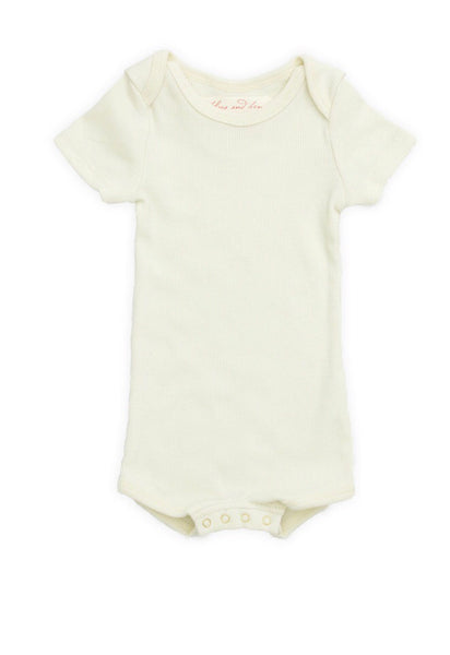 Flora and Henri Short Sleeve Onesie With Snaps Sand