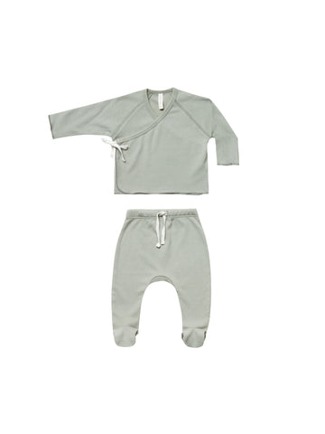 Quincy Mae Sage Kimono Top + Footed Pant Set