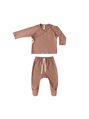 Quincy Mae Clay Kimono Top + Footed Pant Set