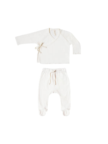 Quincy Mae Ivory Kimono Top + Footed Pant Set