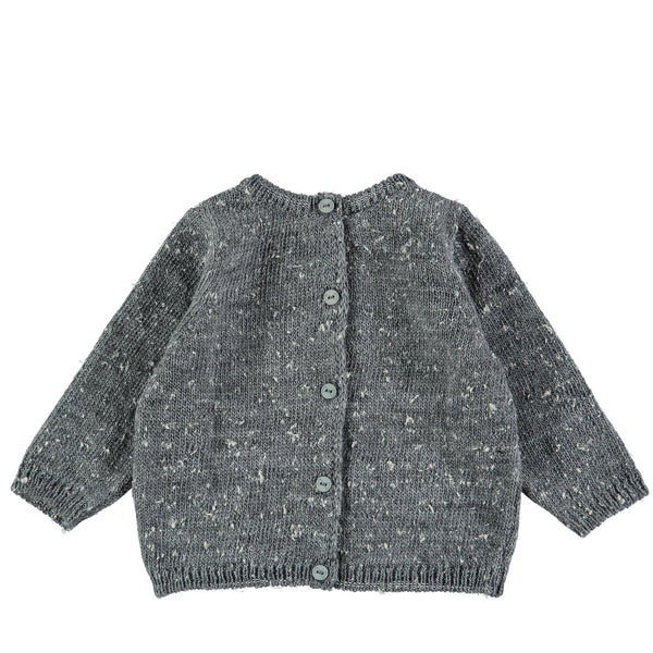 Mini Sibling Grey Knit Reversible Sweater Cardigan