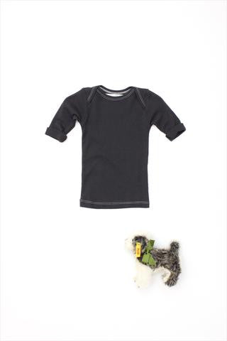 Flora and Henri RIB Lap Shoulder Tee Short Sleeve Charcoal