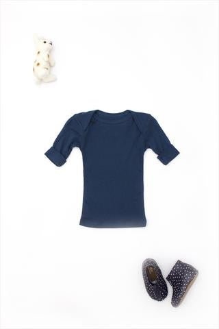 Flora and Henri Rib Lap Shoulder Tee Short Sleeve Navy