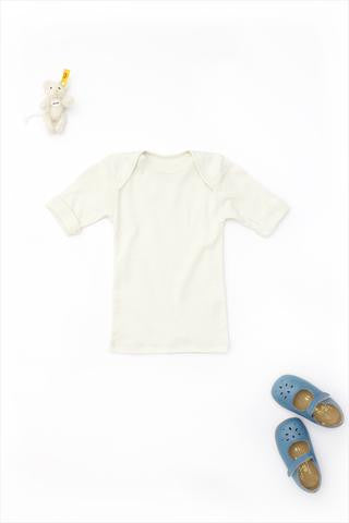 Flora and Henri Rib Lap Shoulder Tee Short Sleeve Sand