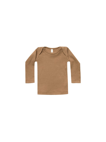 Quincy Mae Copper Ribbed Longsleeve Lap Tee