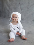 Petit Patch Hoppy Bunny Onesie in Sugar White