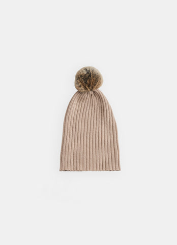 Belle Enfant Cafe Oatmeal Fur Pompom Hat