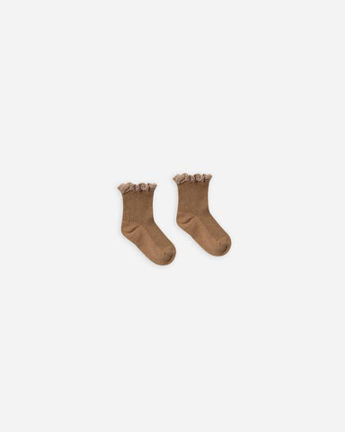 Rylee & Cru Bronze Lace Trim Socks