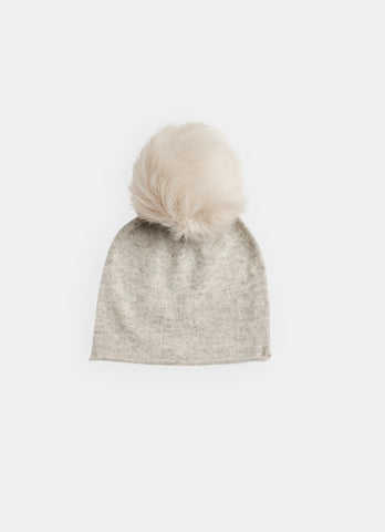 Belle Enfant Silver Marl Grey with Fur Pompom Hat