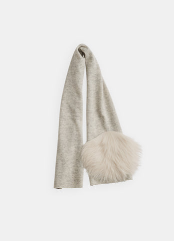 Belle Enfant Silver Marl Scarf with Shearling Fur Pom Pom
