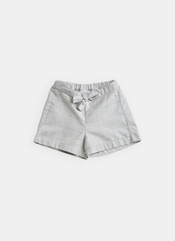 Belle Enfant Pale Grey Check Tie Waist Shorts