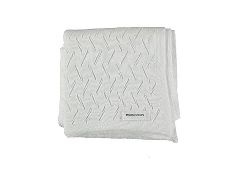 Pequeno Tocon White Knit Blanket