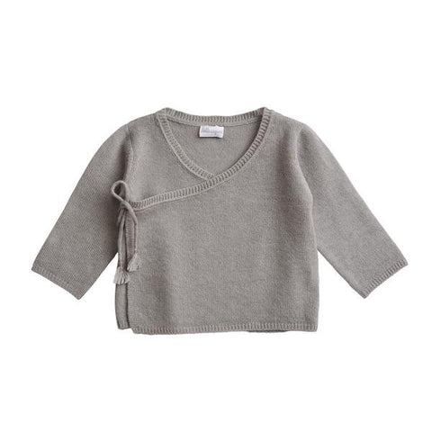Belle Enfant Knit Charcoal Grey Wrap Top