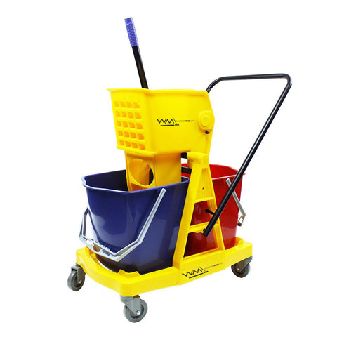 34L Double Bucket Mop Wringer Trolley
