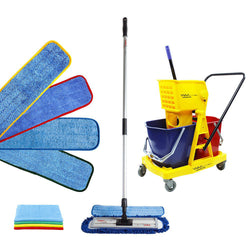 "18"" Complete Color-Coded 34L Microfiber Mop Kit with Double Bucket"