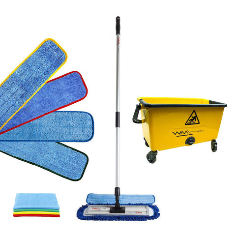 "Wholesalemop 18"" Complete Color-Coded 34L Microfiber Mop Kit with Double Bucket"