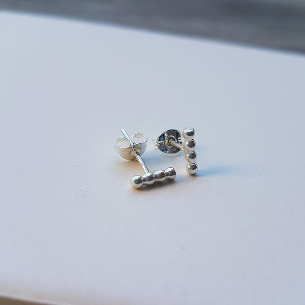 bar stud earrings minimalist sterling silver studs
