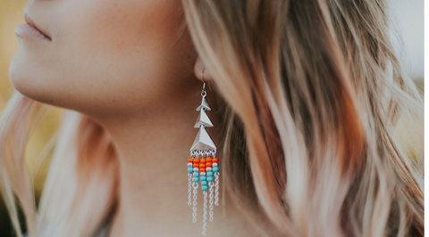 beaded fringe earring orange turquoise silver long earring