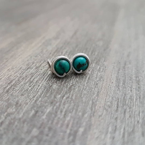 Sterling Silver Wrapped Turquoise Studs