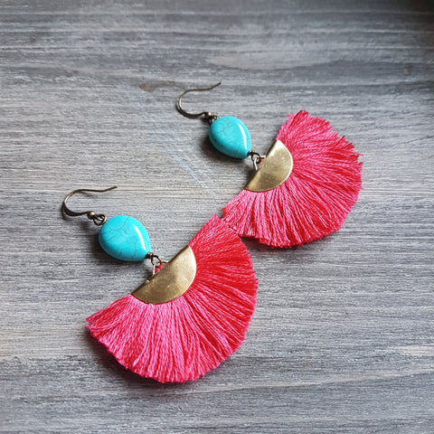 hot pink fringe earring semi circle with faux turquoise tear drop bead