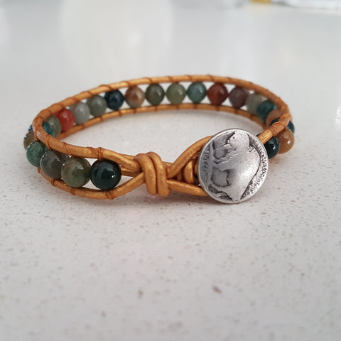 Indian Agate Leather Wrap