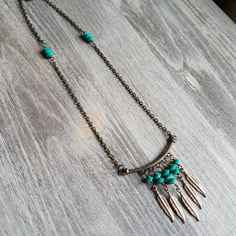 Malachite Feather Necklace