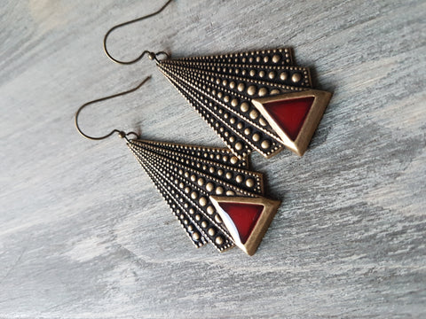 Deep Berry Art Deco Earrings