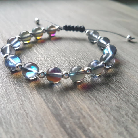 Aura Quartz and Sterling Silver Bracelet