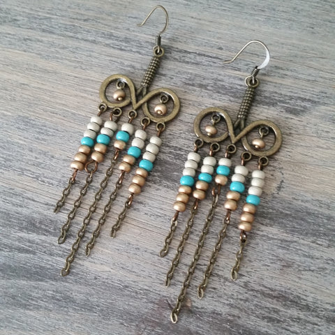 beaded boho earring fringe chandelier