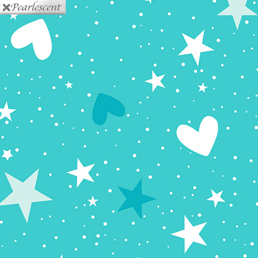 Unicorn Magic- Magical Stars & Hearts Med Aqua 9802P-04
