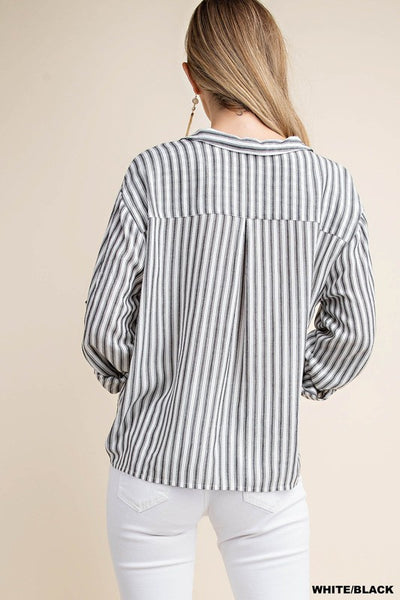 Tied to Stripes Top in Black