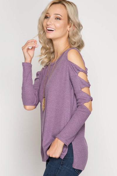 Twist Sleeve Top in Purple