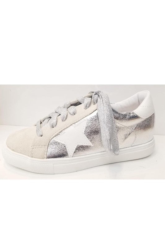 Metallic Star Sneakers in Silver