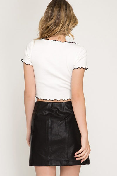 Anytime Leather Skirt in Black