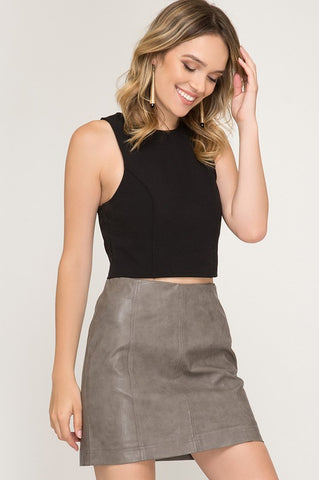 Anytime Leather Skirt in Mocha Grey