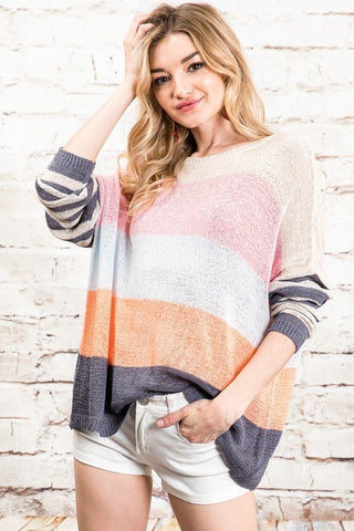 Coastal Color Block Striped Sweater in Grey