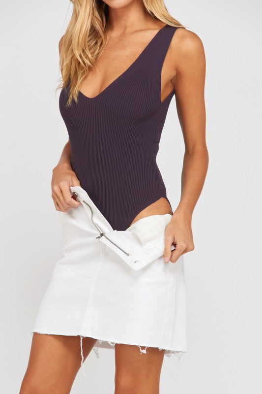Ribbed Bodysuit in Eggplant